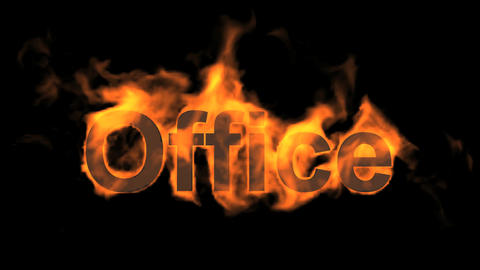 flame office word,fire text Animation