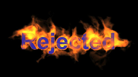 flame rejected word,fire text Animation