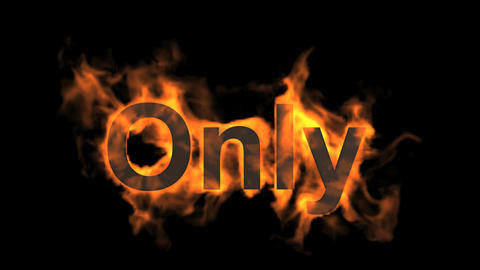 flame only word,fire text Stock Video Footage