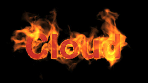 flame cloud word,fire text Animation