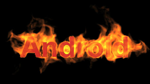 flame android word,fire operating system text Stock Video Footage