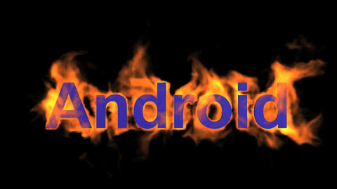 flame blue android word,fire operating system text Stock Video Footage