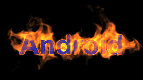 flame blue android word,fire operating system text Animation