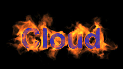 flame blue cloud word,fire text Stock Video Footage
