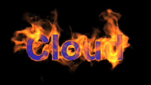 flame blue cloud word,fire text Animation