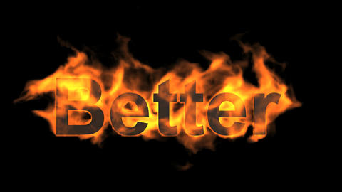 flame better word,fire text Animation