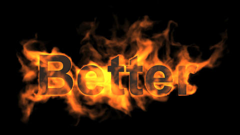 flame better word,fire text Stock Video Footage