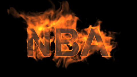flame NBA word,fire text Stock Video Footage