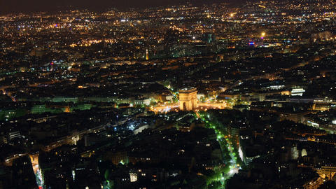 Etoile seen from Eiffel Tower, time-lapse night Footage