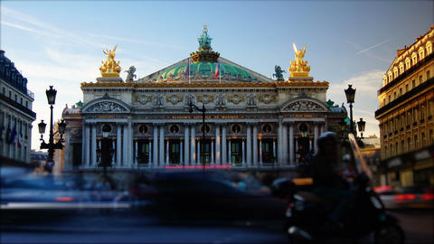 Time-lapse,rush hour in Paris,view to the Opera Ga Stock Video Footage