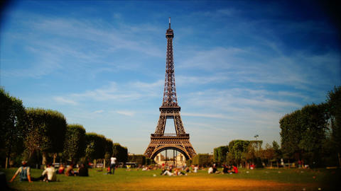 scenes of Paris, views of the Eiffel Tower, time-lapse Stock Video Footage