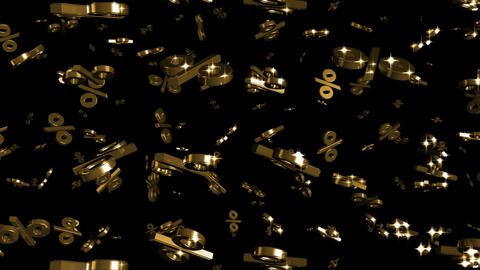 Looping Silver and Gold Percents Falling Stock Video Footage
