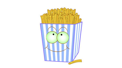 Cartoon french fries with eyes on a white background Animation