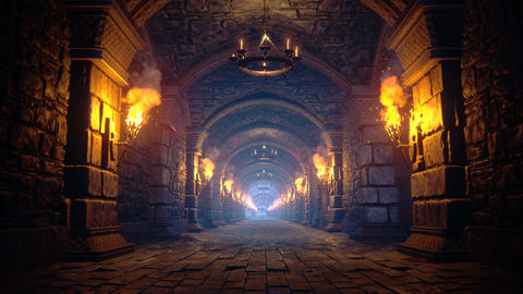 Scary endless medieval catacombs with torches. Mystical nightmare concept. The seamless loopable Animation