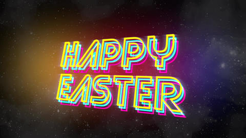 Animation text Happy Easter and abstract stars in galaxy, holiday background Animation