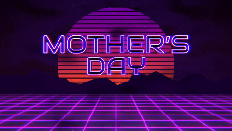 Animation text Mother Day with mountain and sun, sunset retro background Animation