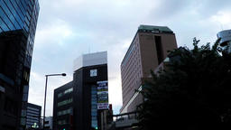 Rotary station in front of a suburban city in Japan Archivo