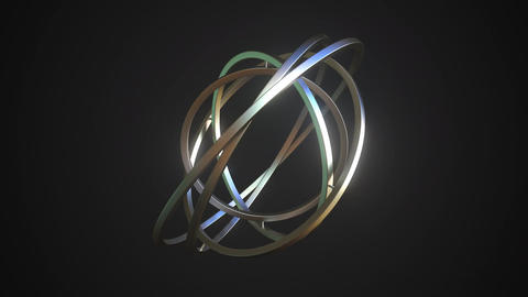 Abstract gimbal with metal rings on black background, looping animation Live Action