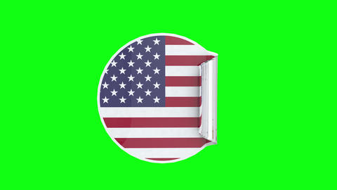 USA United States circular sticker american flag United States USA adhesive sticker green screen Animation