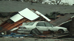 Hurricane damage - roof falls onto car Footage