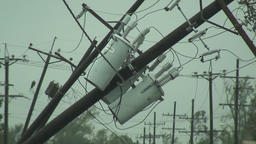 Power poles and transformers damaged Footage