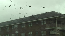 Hurricane blows roof shingles away Footage