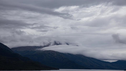 Time Lapse. View of Scenic Lake and Mountains on Cloudy Morning Live Action