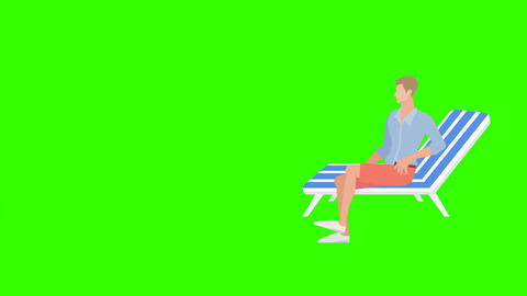 Slim Fashion Girl, Walks up to Man in Deck Chair: Loop + Matte Animation