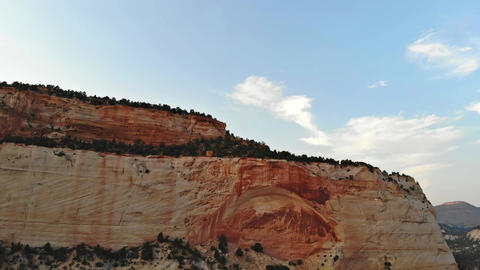 Scenic panoramic aerial view of idyllic Zion National Park scenery with mountain Live Action