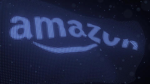 AMAZON logo on a waving digital flag, looping 3d animation Live Action