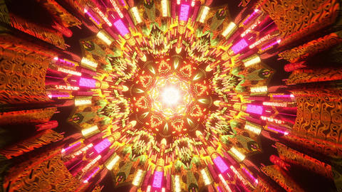 Seamless Psychedelic 3D animation of abstract mandala for trippy art psychedelic trance to open Animation