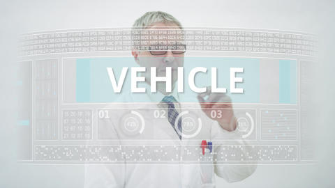 Touchscreen display with DRIVERLESS VEHICLE text and engineer Live Action