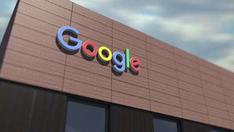 Google logo on the building, editorial time lapse 3d animation Live Action