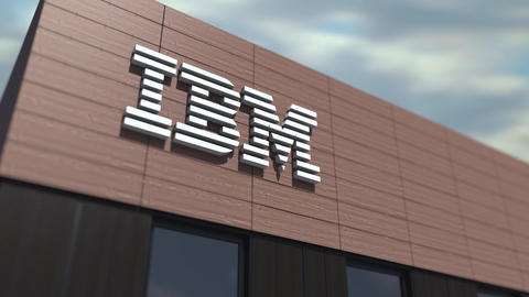 IBM logo on the building, editorial time lapse 3d animation Live Action