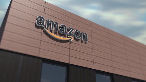 Amazon logo on the building, editorial time lapse 3d animation Live Action