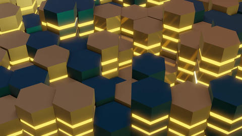 Abstract 3d rendering of hexagons in perspective. With yellow illumination Animation