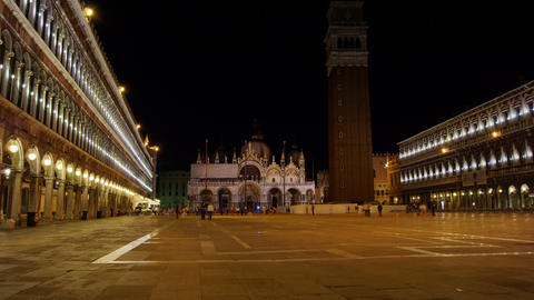 Some attractions of Venice city in Italy, San Marco view Live Action