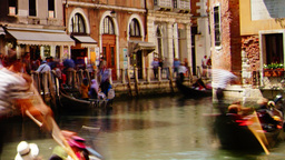 Some attractions of Venice city in Italy, gondola parking Live Action