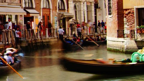 Some attractions of Venice city in Italy, gondola parking Stock Video Footage