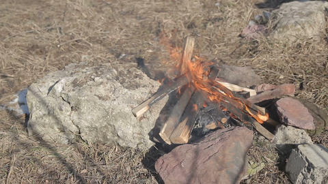 Bonfire On Rocks stock footage