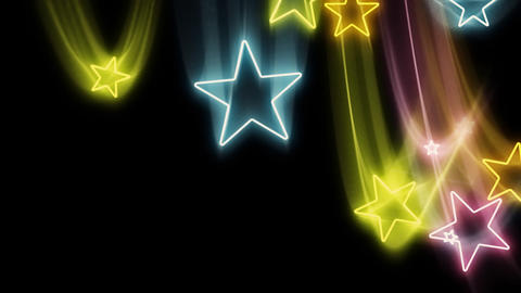 Bright Neon Stars Flying In and Out Loop Stock Video Footage