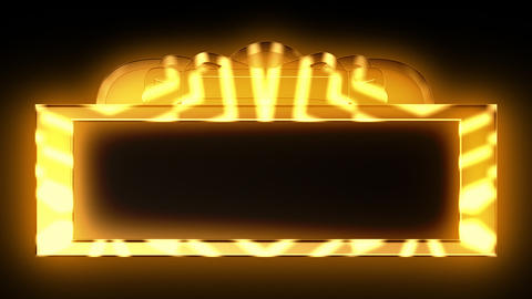 Looping Gold Theatrical Marquee, Stock Animation