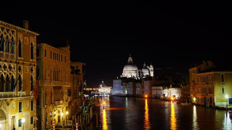 Some attractions of Venice city in Italy, Santa Maria della Salute night Footage