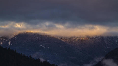 Morning Light on a Snow Mountain at Lillooet Lake, Stock Video Footage