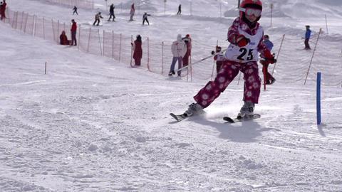 Little Skier Stock Video Footage
