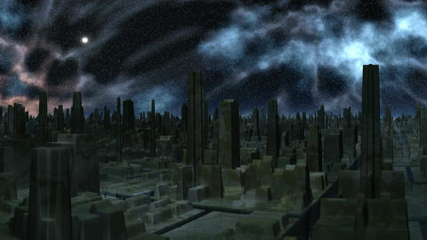 Space storm over the city of aliens Stock Video Footage