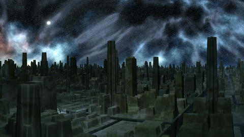 Space storm over the city of aliens Animation