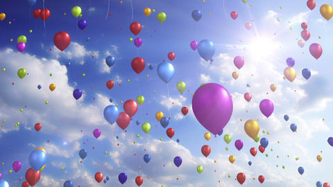 Colorful Balloons - Festive / Party Video Background Loop Stock Video Footage