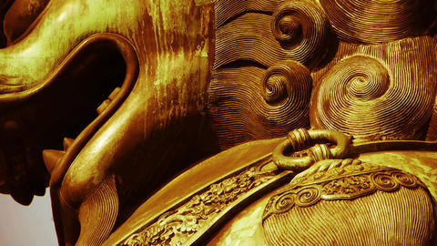 china ancient royal brass lion Stock Video Footage