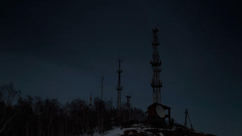 Antenna, Day turns into night, TimeLapse Stock Video Footage